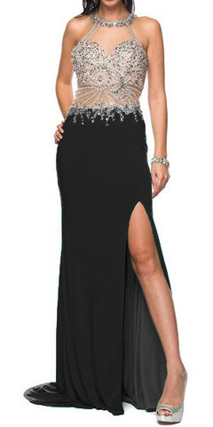 Sexy Fit and Flare Formal Gown Black Sexy Slit Gorgeous Top