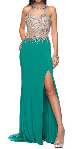 Sexy Fit and Flare Formal Gown Teal Green Sexy Slit Gorgeous Top