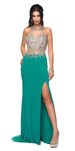 Juliet 619 Rhinestone Embellished Bodice Halter Prom Gown Teal