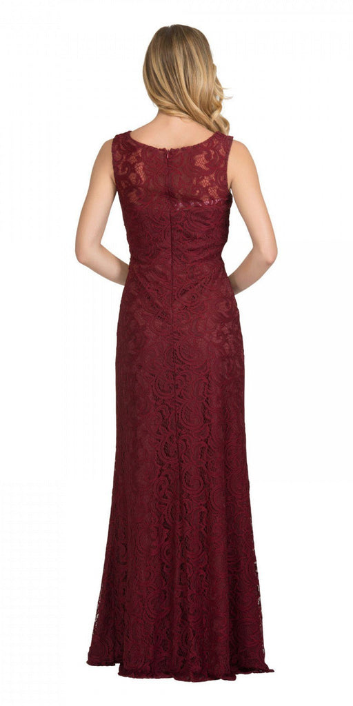 Starbox USA 6193 Sleeveless Mock Two-Piece Long Formal Dress Burgundy Back View