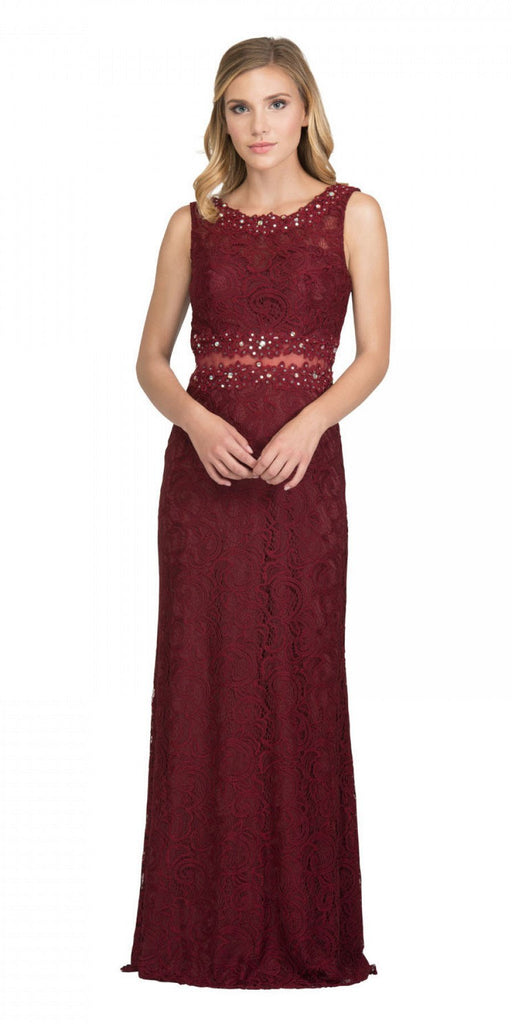 Starbox USA 6193 Sleeveless Mock Two-Piece Long Formal Dress Burgundy