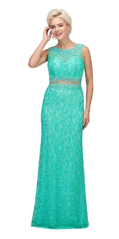 Starbox USA 6193 Sleeveless Mock Two-Piece Long Formal Dress Mint