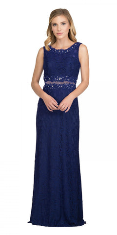 Starbox USA 6193 Sleeveless Mock Two-Piece Long Formal Dress Navy Blue