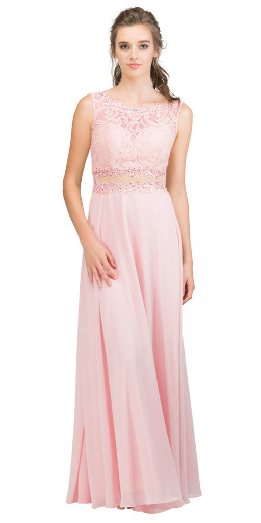 Starbox USA 6194 Blush Sheer Midriff A-Line Evening Gown Sleeveless