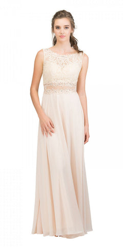 Starbox USA 6194 Champagne Sheer Midriff A-Line Evening Gown Sleeveless
