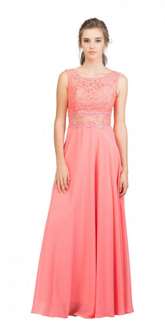 Starbox USA 6194 Coral Sheer Midriff A-Line Evening Gown Sleeveless