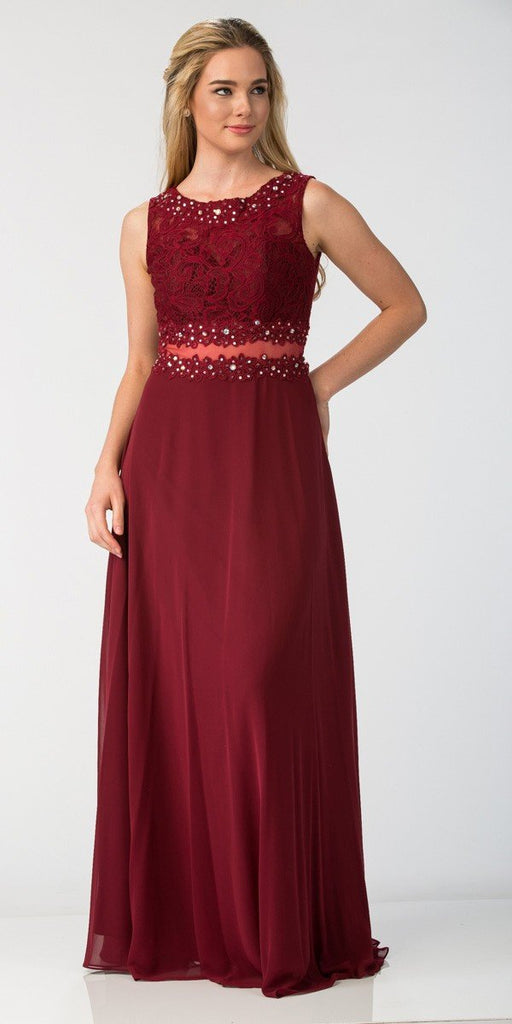 Starbox USA 6194 Burgundy Sheer Midriff A-Line Evening Gown Sleeveless