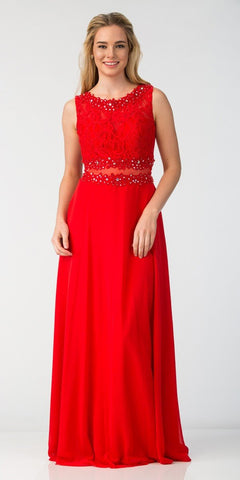 Starbox USA 6194 Red Sheer Midriff A-Line Evening Gown Sleeveless