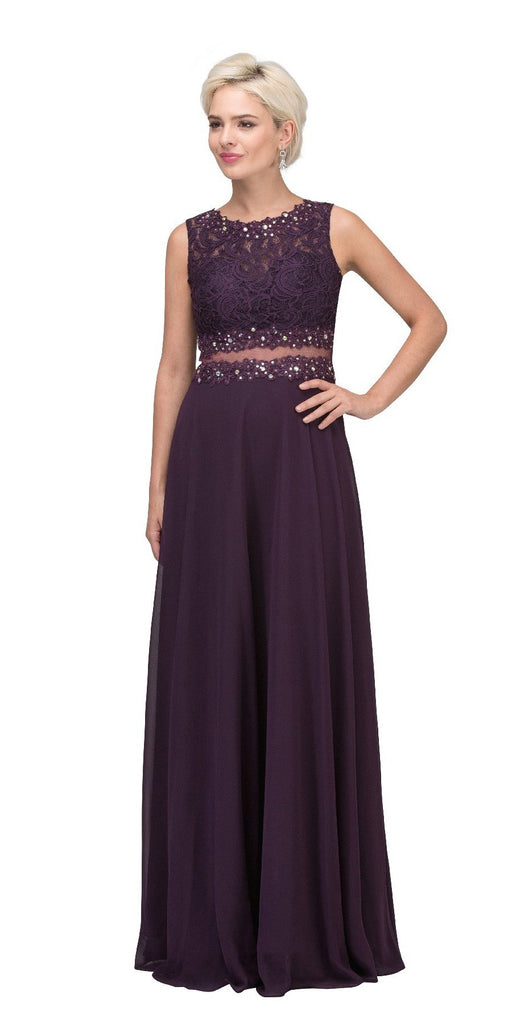 Starbox USA 6194 Eggplant Sheer Midriff A-Line Evening Gown Sleeveless