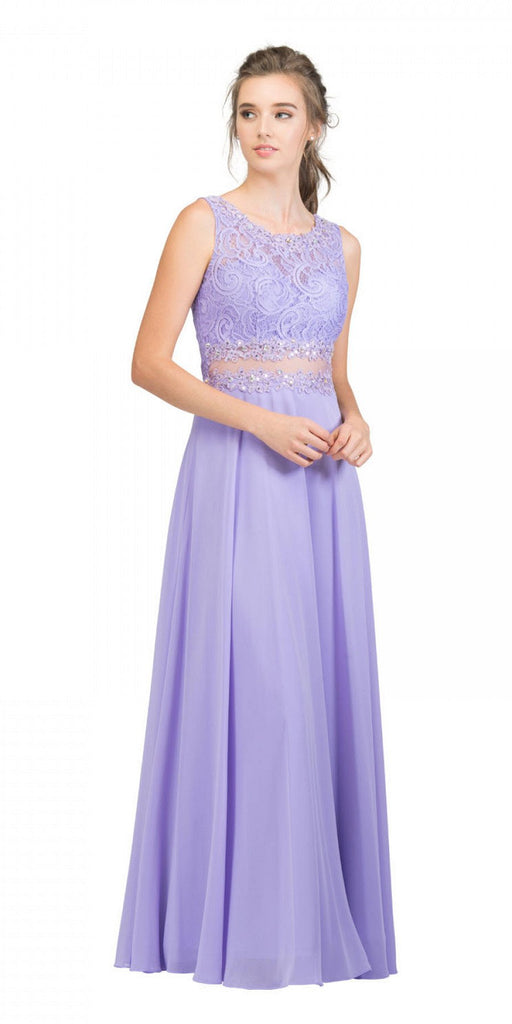Starbox USA 6194 Lilac Sheer Midriff A-Line Evening Gown Sleeveless