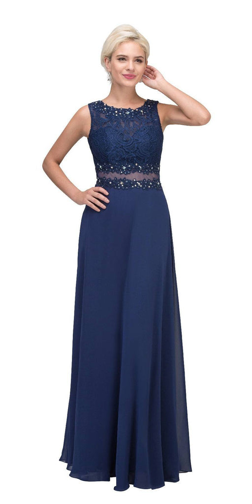 Starbox USA 6194 Navy Sheer Midriff A-Line Evening Gown Sleeveless