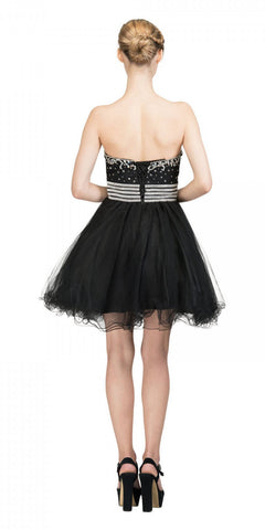 Starbox USA S6196 Strapless Black Short Prom Dress Rhinestone Bodice Back View