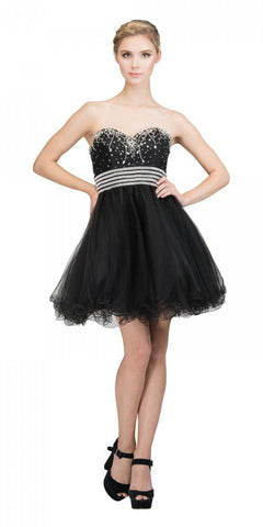 Starbox USA S6196 Strapless Black Short Prom Dress Rhinestone Bodice