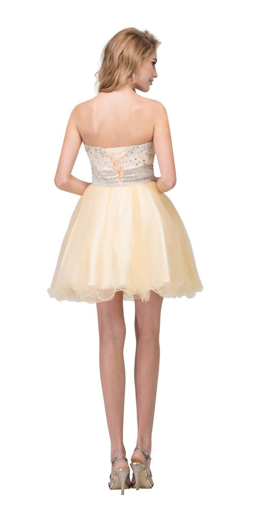 Starbox USA S6196 Strapless Champagne Short Prom Dress Rhinestone Bodice Back View
