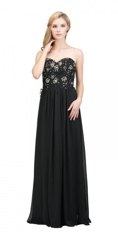 Starbox USA 6197 - Strapless Formal Black Evening Dress Chiffon A Line