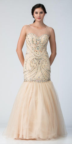 Starbox USA 6199 Illusion Embellished Trumpet Style Prom Dress Champagne