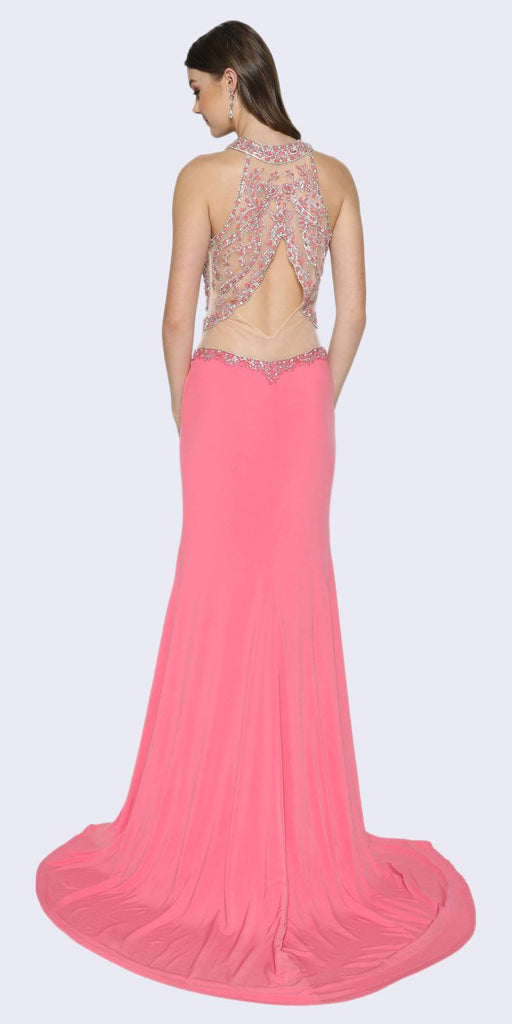 Juliet 620 Watermelon Illusion Halter Neckline Keyhole Back Prom Dress