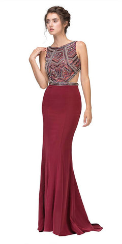 Eureka 6200 Burgundy Beaded Cut Out Bodice Mermaid Red Carpet Gown Side View