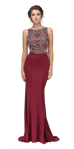 Eureka 6200 Burgundy Beaded Cut Out Bodice Mermaid Red Carpet Gown