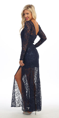 Long Lace Semi Formal Gown Navy Blue Long Sleeve Illusion Skirt Side