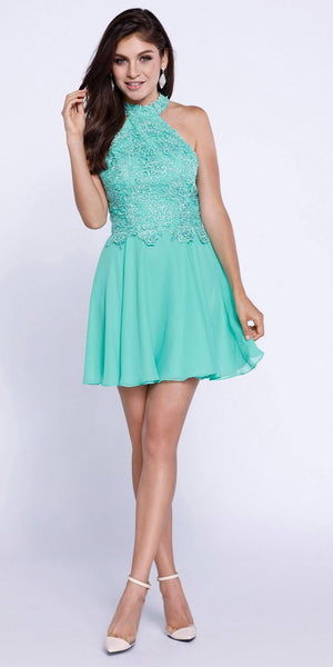 Mint Green Lace Applique Close Neck Halter Homecoming Dress Short