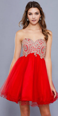 Strapless Poofy Homecoming Short Dress Appliqued Bodice Red