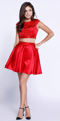 Cap Sleeves Two-Piece Beaded Short Prom Dress Cut Out Back Red