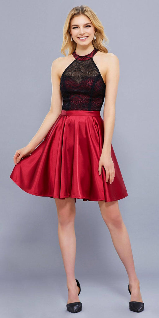 Short Lace Satin Halter Prom Dress Black Red A Line Flare