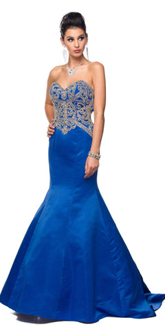 Juliet 622 Royal Blue Sweetheart Neck Trumpet Prom Gown Embellished Bodice