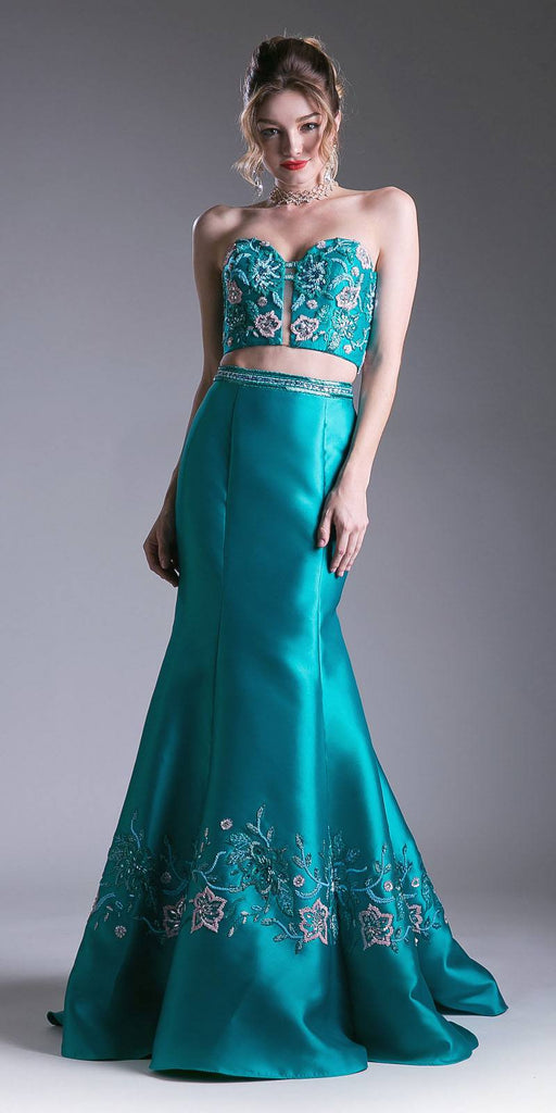 Jade Bead Embroidered Two-Piece Prom Gown Strapless