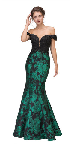 Off-the-Shoulder Floral Printed Prom Gown Black/Hunter Green