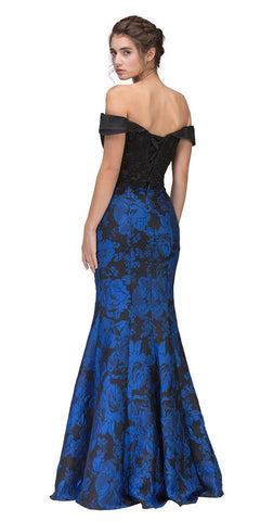 Off-the-Shoulder Floral Printed Prom Gown Black/Royal-Blue