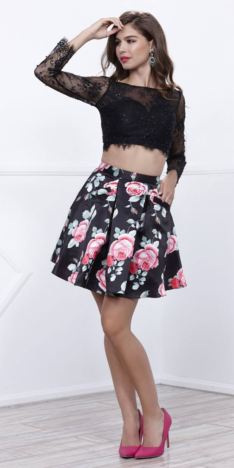 38d3ac851ed Long Sleeves Two-Piece Short Prom Dress Floral Printed Skirt Black ...