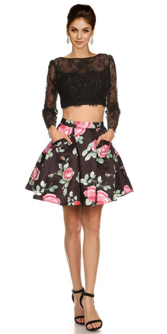 Long Sleeves Two-Piece Short Prom Dress Floral Printed Skirt Black