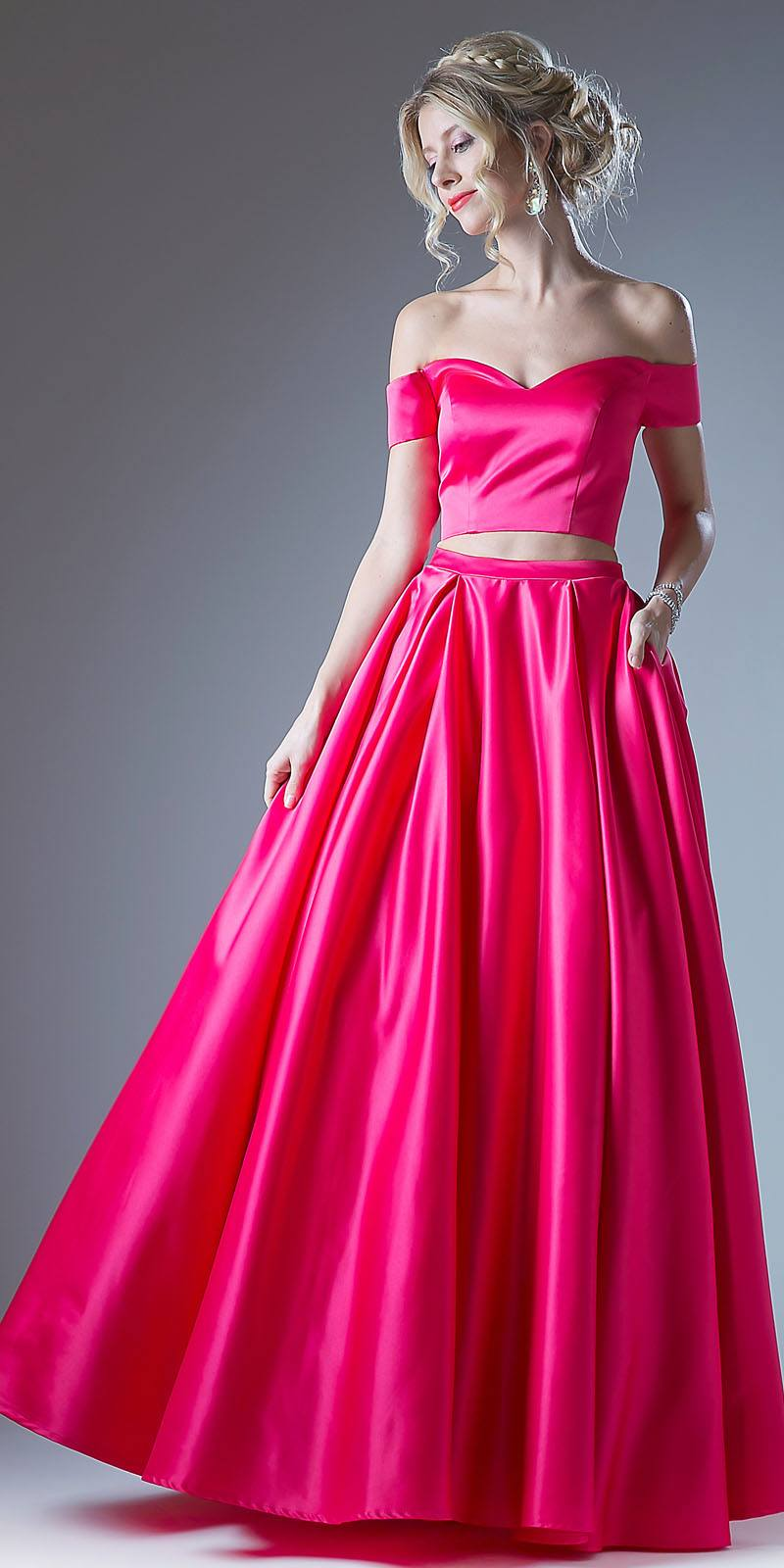 4836fcd993a4 ... Fuchsia Off Shoulder Two-Piece Long Prom Dress with Pockets ...