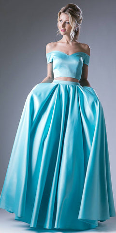 Mint Off Shoulder Two-Piece Long Prom Dress with Pockets