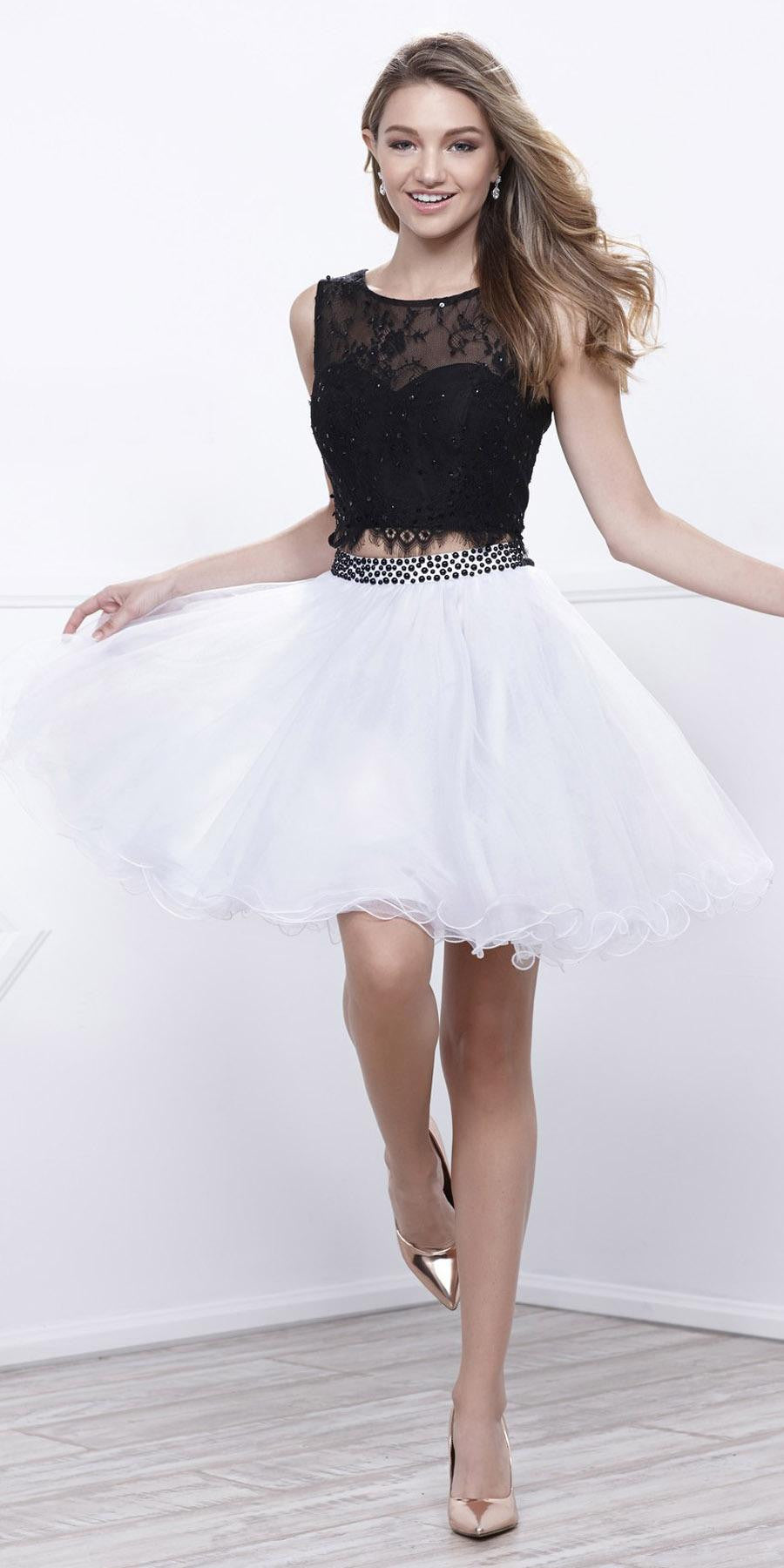 e4f8feb714b Black White Two-Piece Homecoming Dress Lace Crop Top Sleeveless. Tap to  expand