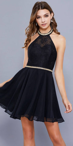Black Halter A-line Short Homecoming Dress Embellished Waist