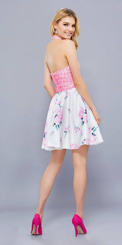 Pink Applique Top Short Halter Prom Dress Floral Printed Skirt