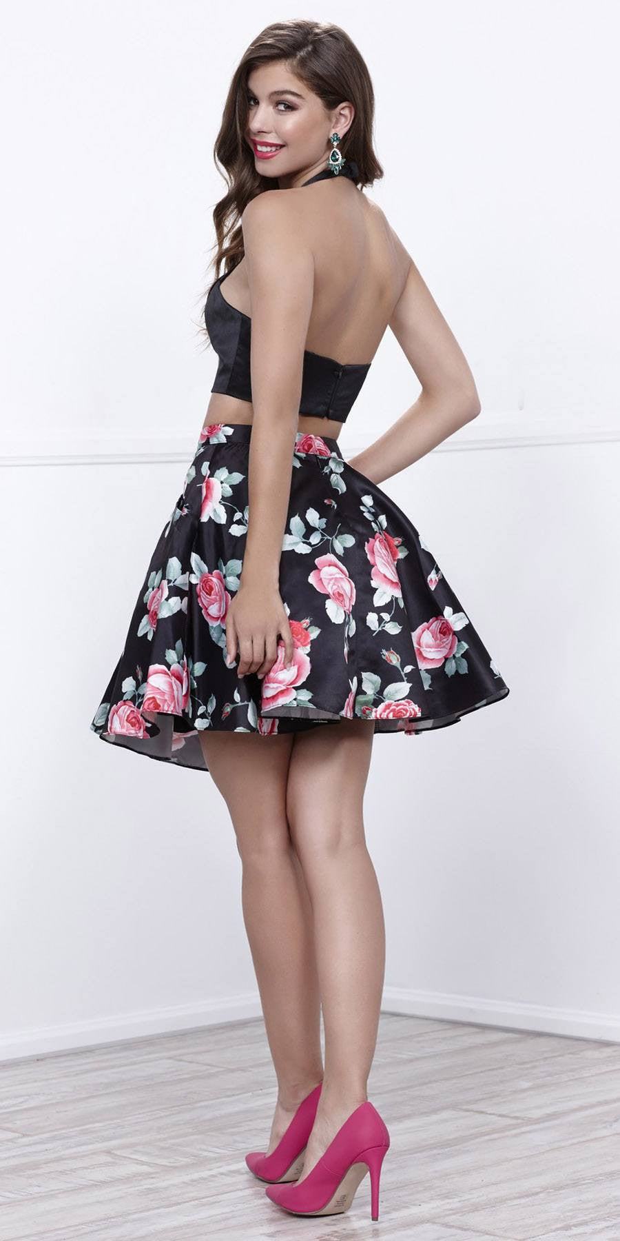 Black Crop Top Two-Piece Cocktail Dress Floral Printed Skirt with ...