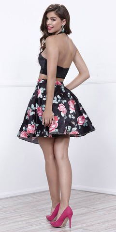 be411fbee3a0 Black Crop Top Two-Piece Cocktail Dress Floral Printed Skirt with Pockets