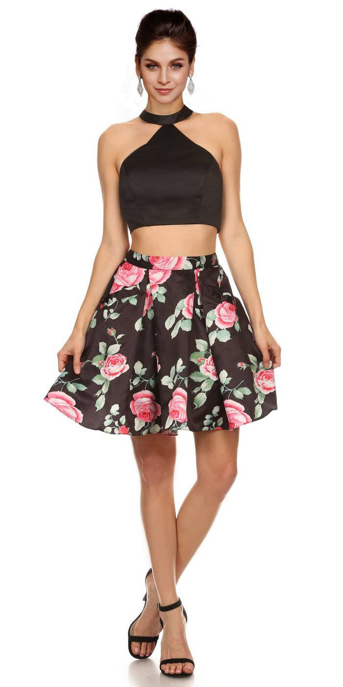 9bd551e2ee2 Black Crop Top Two-Piece Cocktail Dress Floral Printed Skirt with Pockets