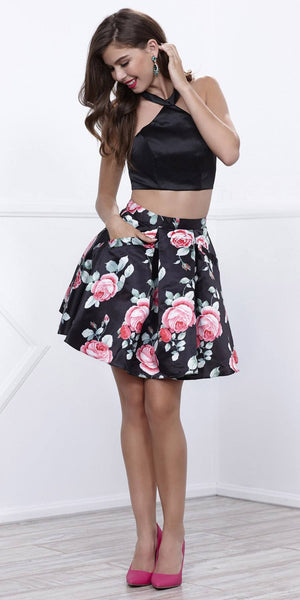 Black Crop Top Two-Piece Cocktail Dress Floral Printed Skirt with Pockets