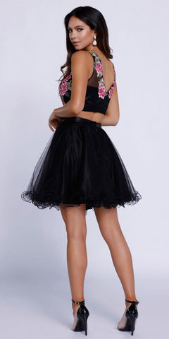 Short Two-Piece Prom Dress Embroidered Crop Top Black