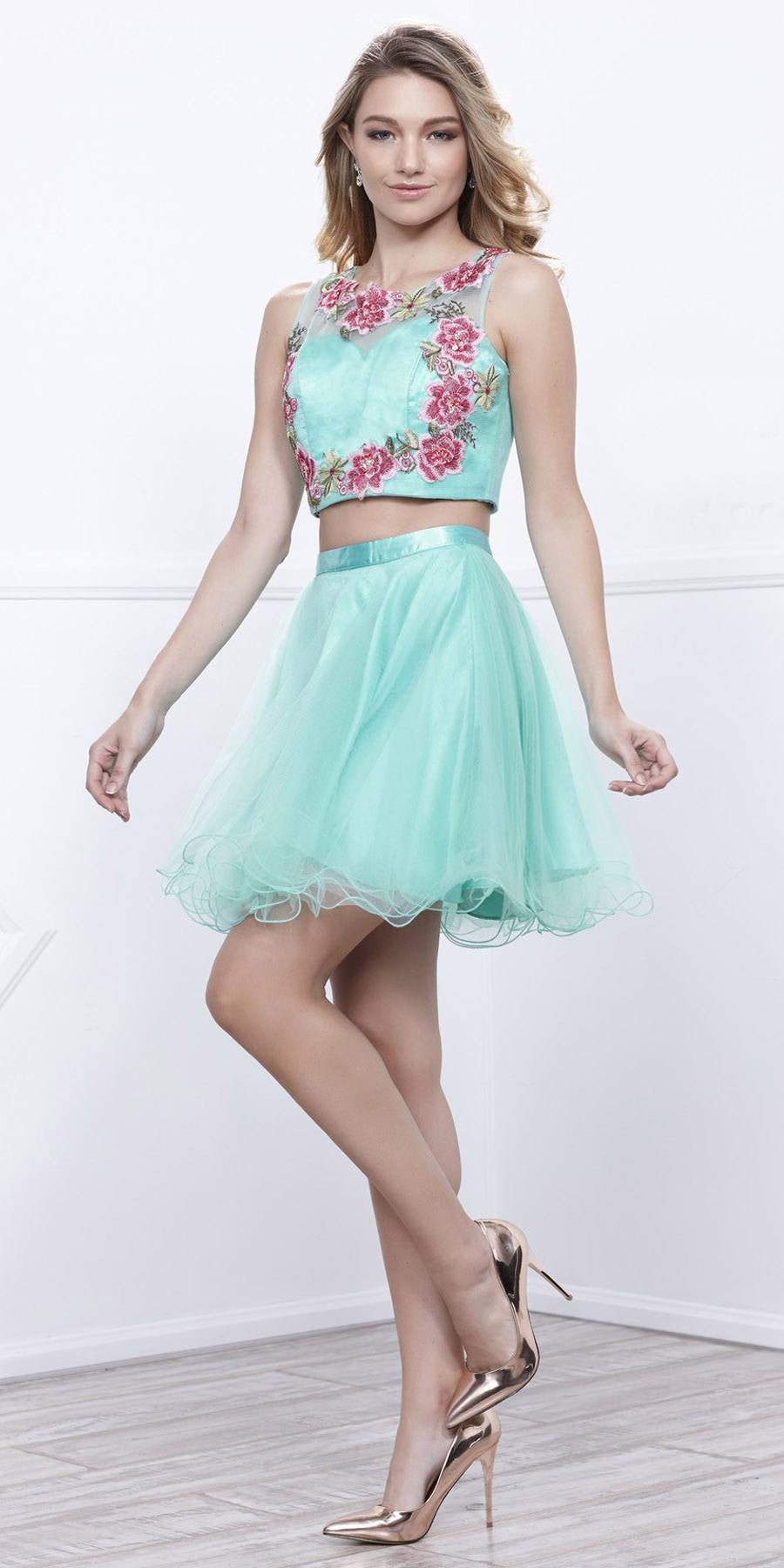 Short Two-Piece Prom Dress Embroidered Crop Top Black ...