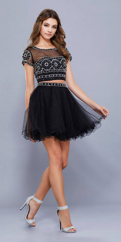 Beaded Crop Top Short Sleeves Two-Piece Cocktail Dress Black