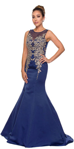 Juliet 623 Midnight Blue Trumpet Style Prom Gown with Applique Beading