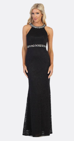 Halter Jeweled Neck and Waist Fit and Flare Lace Prom Gown Black