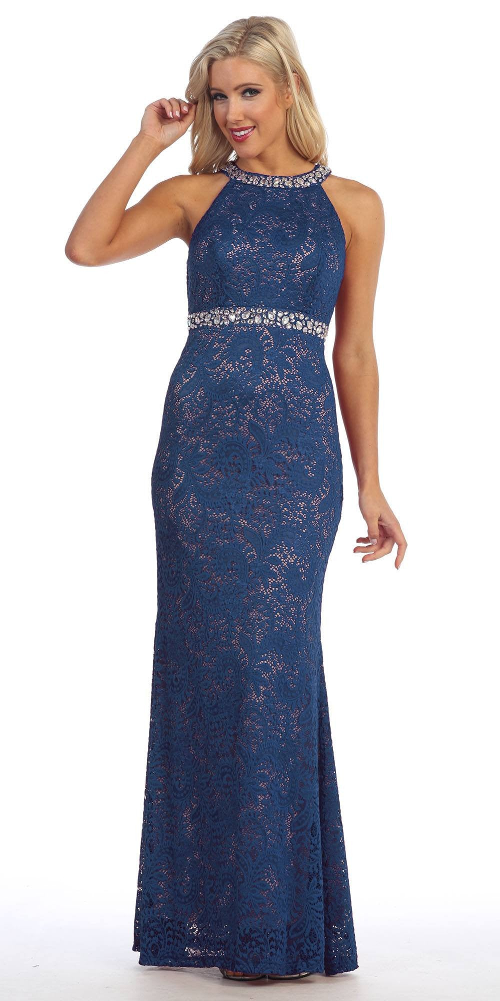 Halter Jeweled Neck and Waist Fit and Flare Lace Prom Gown Wine/Nude ...