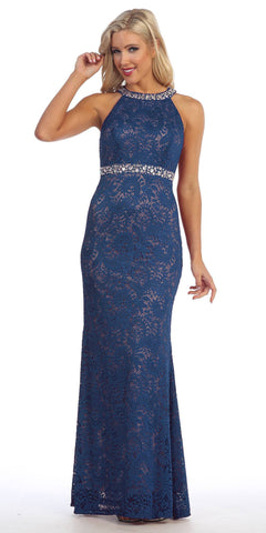 Halter Jeweled Neck and Waist Fit and Flare Lace Prom Gown Navy Blue
